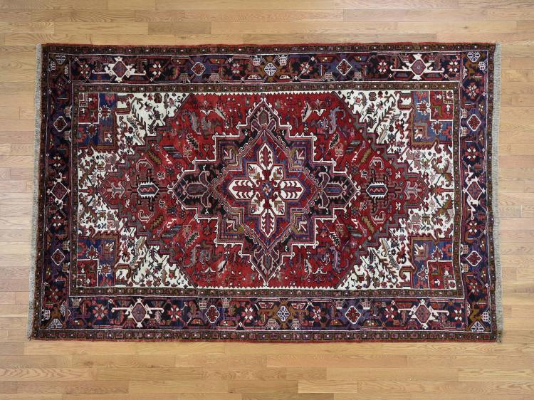 Pure Wool Semi Antique Persian Heriz Hand Knotted Oriental Rug