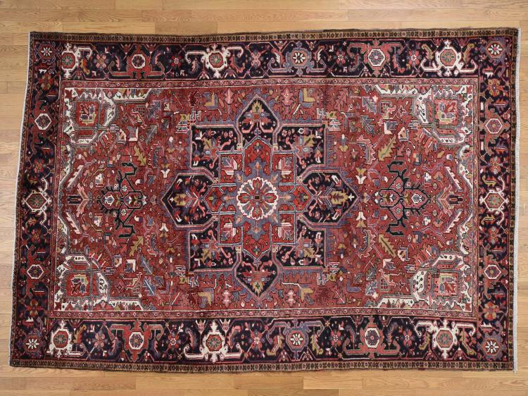 Hand Knotted Semi Antique Persian Heriz Mint Condition Rug
