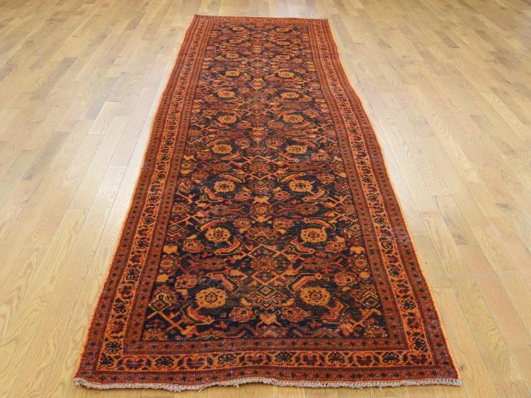 Vintage Overdyed Persian Tabriz Hand Knotted Wide Runner Rug