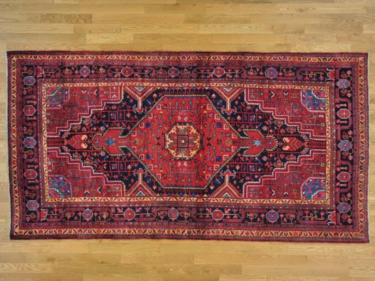 Pure Wool Persian Nahavand Wide Runner Hand Knotted Rug