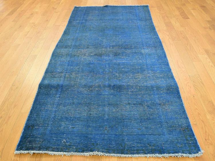 Hand Knotted Pure Wool Vintage Overdyed Persian Tabriz Wide Runner Rug