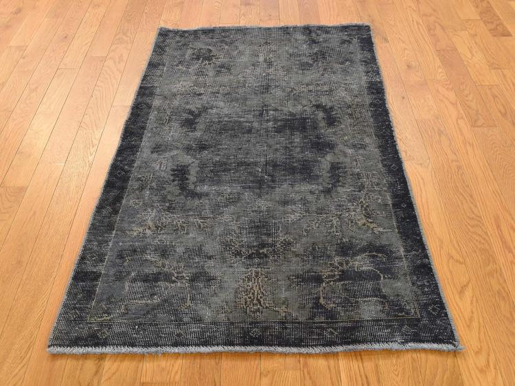 Grey Vintage Overdyed Persian Tabriz Worn Hand-Knotted Pure Wool Rug