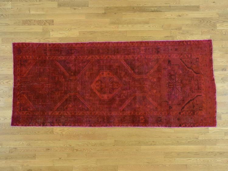 Overdyed Persian Hamadan Vintage Handmade Oriental Wide Runner Rug
