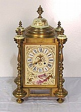 FRENCH BRONZE CLOCK w/ HAND PAINTED PORCELAIN PLAQUES