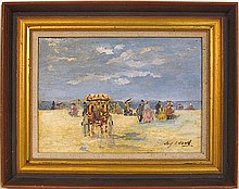 FRENCH EMPRESSIONIST PAINTING of a BEACH SCENE