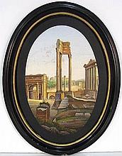 19th c. ITALIAN MICROMOSAIC PLAQUE of ANCIENT ROME