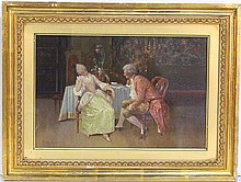 CHARLES LOUIS LUCIEN MULLER PAINTING of a COURTING SCENE