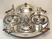 ANTIQUE SILVERPLATED LAZY SUSAN BUFFET SERVER