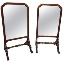 Pr ENGLISH CARVED WALNUT STANDING MIRRORS