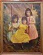 LARGE PORTRAIT of 3 YOUNG GIRLS