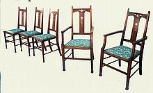 Set of 5 English Arts & Crafts Chairs in the style of Liberty Co Chairs.