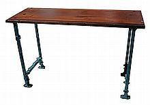 Blue Legged Industrial Work Table