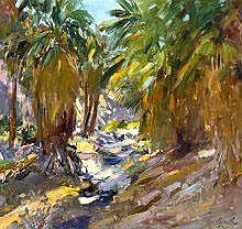 Walt Gonske (b. 1942) Palm Canyon oil on canvas 30