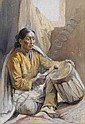 Joseph Imhof (1891-1955) Taos Drummer watercolor, Joseph Adam Imhof, Click for value