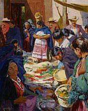Walt Gonske (b. 1942) Market Day, Patzcuaro,