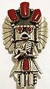 Navajo Coral Sterling Silver Kachina Pendant & Pin - Doris Smallcanyon