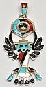 Zuni Multi-Stone Eagle Dancer Sterling Silver Spinner Pendant - Don Dewa