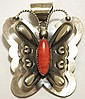 Navajo Spiny Oyster Sterling Silver Butterfly Pendant & Pin - Tim Yazzie