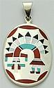Zuni Multi-Stone Rainbow Kachina Pendant - Fred & Lolita Natachu