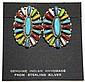 Navajo Multi-Stone Cluster Sterling Silver Post Earrings - Davina Benally