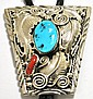 Navajo Coral & Turquoise Sterling Silver Bolo Tie - M. Thomas, Jr.