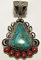Old Pawn Navajo Coral & Turquoise Sterling Silver Pendant - Kirk Smith