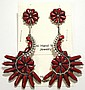 Zuni Coral Sterling Silver Post Earrings - Augustine Pinto