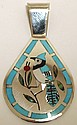 Zuni Multi-Stone Inlay Bluebird Sterling Silver Pendant - Dennis & Nancy Edaakie
