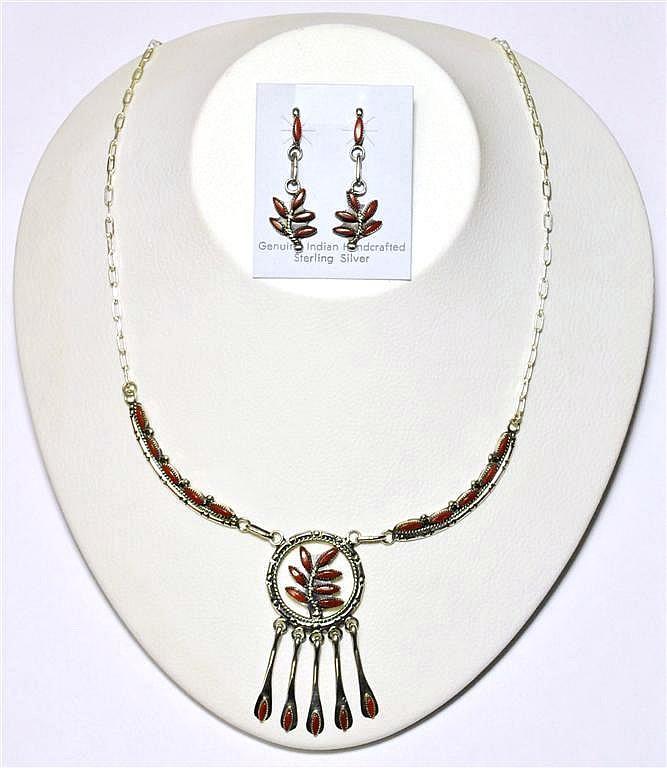 Zuni Coral Hanger Pendant Necklace & Earrings Set