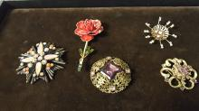 Lot of 5 vintage signed costume jewelry brooches
