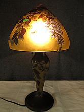 AFTER GALLE  FRENCH CAMEO GLASS SIGNED LAMP 18