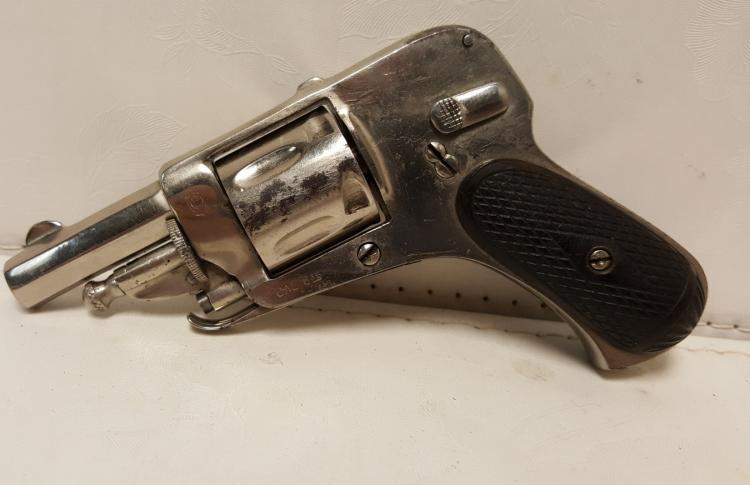 Belgium nickel folding trigger 6.35 cal revolver