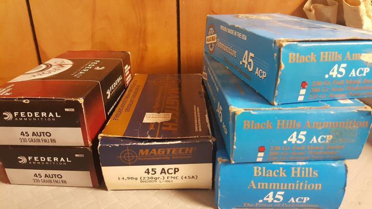 6 boxes .45 ACP (auto) ammo