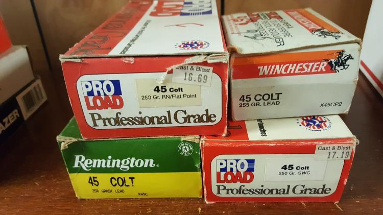 4 boxes .45 Colt pistol ammo