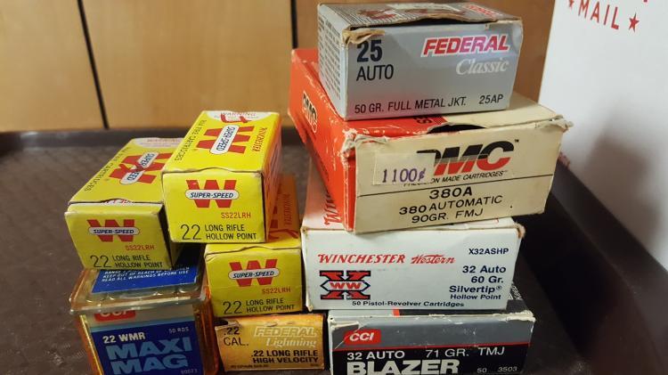 Mixed. 22, .32, 22mag, 380, .25 ammo
