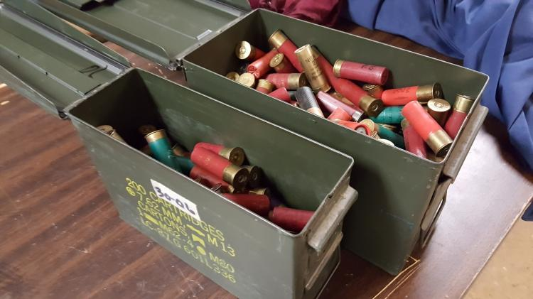 2 metal Cartridge boxes filled with 12ga shells
