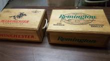 Winchester & Remington wood shotgun shell boxes