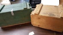 2 old wood ammo boxes