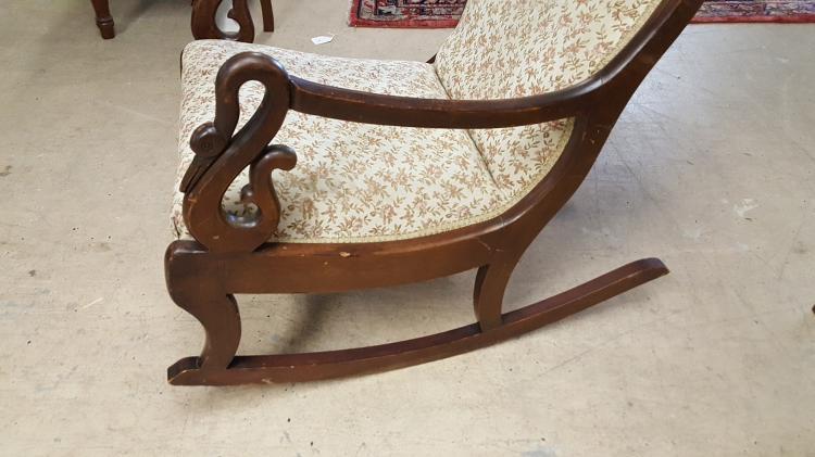 Vintage Swan Arm upholstered rocking chair