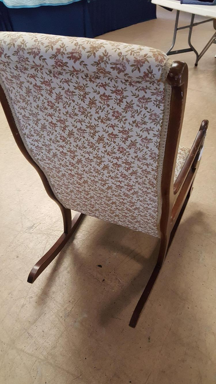 Lot 21: Vintage Swan Arm upholstered rocking chair