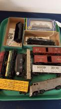 12 HO train boxcars, tankers, etc, some boxes