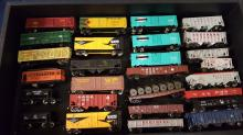 26+ used N scale box cars, hoppers, etc