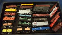 24+ N scale caboose, tankers, flat cars, hoppers