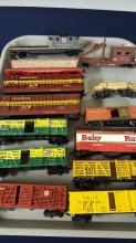 Lot of 13 HO stock cars, log & maintenance cars