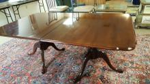 Chippendale cherry wood dining table with 2 leaves