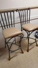Pair wrought iron bar stools
