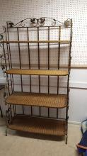 Caned shelf metal bakers rack