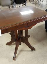 Eastlake solid wood lamp table w/glass top