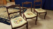 Lot of 3 rose carved back needlepoint chairs