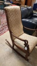 Swan arm upholstered slipper rocking chair